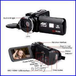 4K Camcorder 48MP Night Vision WiFi Control Digital Camera 3.0 Inch Touch-S W6J5