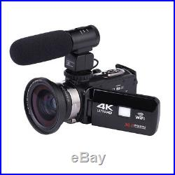 4K WiFi Ultra HD 1080P 3 Digital Video Camera Camcorder DV with Lens+Microphone
