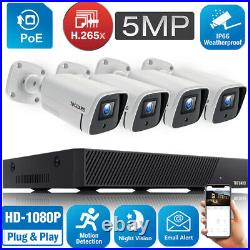8CH POE NVR CCTV Home Outdoor Security Camera System 4pcs IP Camera Night Vision