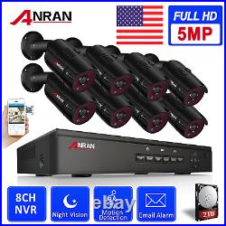 ANRAN 5.0MP HD POE Security Camera System Outdoor 8CH POE NVR with 2TB HDD Video