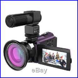 Andoer 4K 1080P 48MP WiFi Digital Video Camera Camcorder Recorder with Lens + Mic