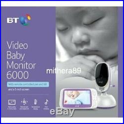 BT 6000 Digital VIDEO BABY MONITOR 5 inch COLOUR LCD Screen ZOOM PAN TILT Camera
