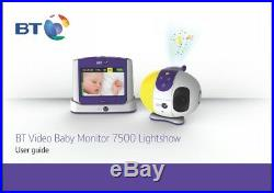 BT 7500 Lightshow Digital VIDEO SOUND Baby Monitor 3.5 Inch COLOUR Touch-Screen