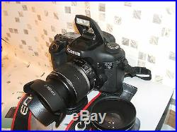 CANON EOS 7D PROFESSIONAL USE DIGITAL VIDEO/MOVIE AND SLR CAMERA with THREE LENS
