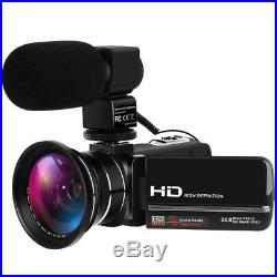 Full HD 1080P Digital Video Camera 24MP 16X ZOOM LED 3 LCD Camcorder Mic HDMI