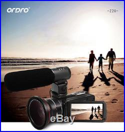 HD Professional Digital Camera Video Camcorder 1080P Wide Angle Telephoto Lens