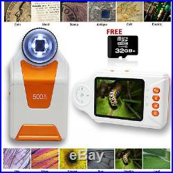 Indigi Digital Handheld Magnifier Microscope 500x ZOOM Camera & Video 32GB BONUS