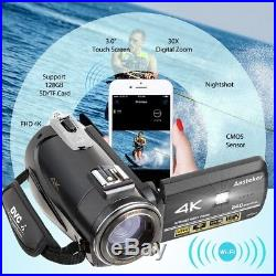 Movie Video Camera Camcorder 4k Ultra-HD Recorder 24MP 30X Digital Zoom WiFi Mic