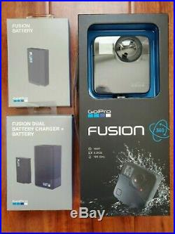 NIB GoPro Fusion 360 Digital Action Camera with Dual Charger and 2 Extra Batteries