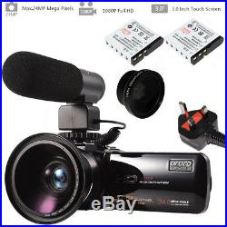 Ordro Max 24MP Wifi Digital Camcorder Camera with Microphone Wide Lens Battery