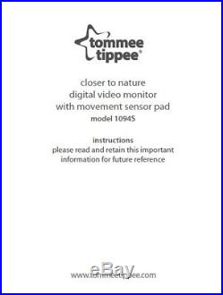 TOMMEE TIPPEE Closer to Nature DIGITAL VIDEO MOVEMENT + SOUND Baby Monitor 1094s