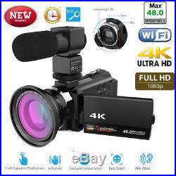 WiFi 4K 16X 1080P HD Digital Video Camera Camcorder+Microphone+Wide Angle Len
