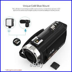 WiFi 4K 16X ZOOM Digital Video Camera Camcorder+Microphone+Wide Angle Lens #w